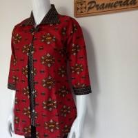 Jual Blouse Bolero Batik Modern Mata Najwa Merah Murah