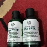 tea tree facial wash 60 ml dan toner 60 ml ori the body shop