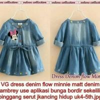baju anak perempuan denim minnie mouse gaun dress anak kecil
