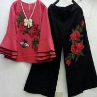 Jual baju murah setelan kerja terompet tumpuk muslim wanita CBAL FLOWER SET Murah
