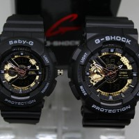 JAM TANGAN COUPLE G SHOCK SEPASANG GA 110 BLACK COVER GOLD