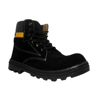 Shoes Cut Engineer Boots Iron Safety Suede Leather Black Sepatu Pria