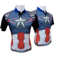 Jual Polo Captain America Costume / kaos Polo priaFull Print / kaos Distro Murah