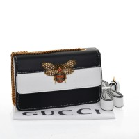 Tas Gucci Queen Margaret Belt Crossbody Hitam - Putih Seprem 661