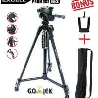 Tripod Excell Promoss Black Hitam camera DSLR & Handycam + Bag