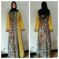 Gamis Batik Kombinasi Warna Kuning Polos