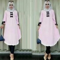 Jual Baju Wanita Murah [Tunik Zafir Baby Pink SW] tunik wanita wolly crepe Murah