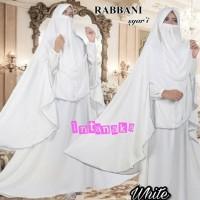 hijab gamis rabbani syari putih umroh busui xl dropship supplier