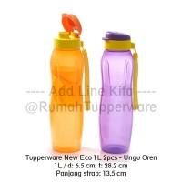 Tupperware New Eco Bottle 1L 2pcs- Ungu Oren