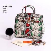 Tas Hermes Birkin 30 Phyton Rainbow Hijau - Merah Semi Premium H101