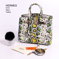 Tas Hermes Birkin 30 Phyton Rainbow Hijau - Kuning Semi Premium H101