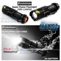 Pocketman Senter LED 2000 Lumens 3 Modes Flashlight Waterproof
