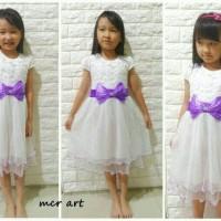 Dress Anak Putih Pita Ungu / White Ribbon Purple