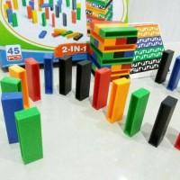Jual Mainan Anak UNO MINI Stacko & Set Domino Block Topling Susun(2in1) Murah