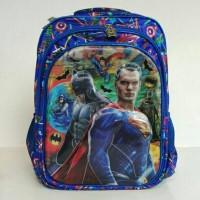 Tas Sekolah Ransel SD 3S + rain cover Superman dan Batman impor