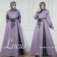 Baju Atasan Muslim Gamis Murah Lucia Dres Lilac-Darkgrey
