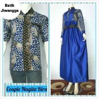 Jual Cantiknya Baju Couple Gamis Batik Jiwangga dan Kemeja Nagita Biru Murah