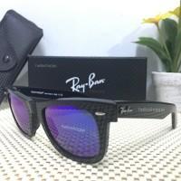 Kacamata Rayban Wayfarer 2140 black glossy blue Lens - lensa biru