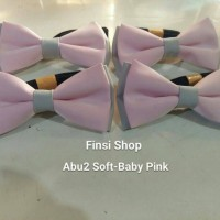 Jual dasi kupu kupu BABY GREY - BABY PINK Murah