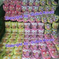 Jual souvenir promosi bantal wisuda owl bulat logo/ souvenir ultah anak Murah