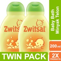 Zwitsal Baby Bath Natural Dengan Minyak Telon - 200ml Twin Pack