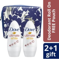 2X Dove Roll On Deodorant Ultimate White 40ml Free Pouch