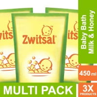 Zwitsal Baby Bath Natural Milk & Honey Refill Pouch - 450ml Multi Pack