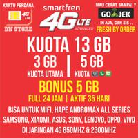 Kartu Perdana Smartfren 4G LTE Kuota 3GB Bonus 10GB 13 GB Murah 13GB
