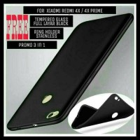 Jual Case Xiaomi Redmi 4x& FREE TEMPERED GLASS BLACK FULL LAYAR Murah