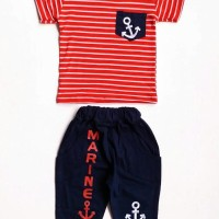 Baju Setelan Anak Laki Kaos Marine Jangkar Garis Stripe Celana Selutut
