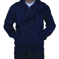 Jual Jaket Sweater Hoodie Zipper Polos Navy Murah