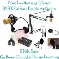 Paket Microphone Condenser Live Streaming or Karoke Bombastis