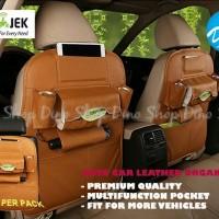 Car Seat Organizer Leather / Rak Untuk Jok Mobil Kulit - Coklat Muda