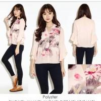 Jual frill top / blouse chiffon floral lengan panjang alfb Murah