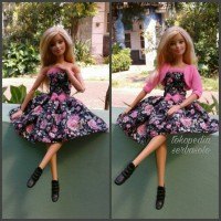 Jual dress bunga-bunga boneka barbie handmade Murah