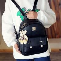 tas ransel fashion warna pastel hitam import pergi jalan hangout cewek