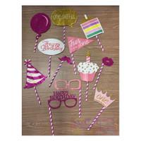 Props Photo Booth - Acc - Aksesoris Photobooth Tema Birthday Pink