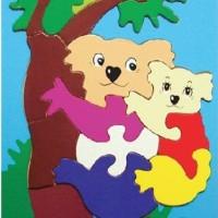 Mainan Edukatif Puzzle Sticker 20x30cm Gambar Koala utk Anak 3-4 Tahun