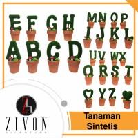 Jual Pajangan Tanaman Palsu Sintetis Huruf Alfabet Zivon AF54 Murah