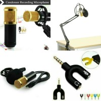 Mic BM800 + Stand mic arm + pop filter + Splitter audio U