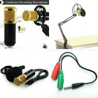 Mic BM 800 + stand ARM + pop filter + Splitter Audio Y
