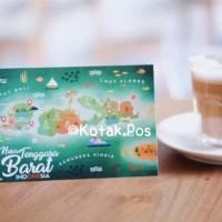 NUSA TENGGARA BARAT NTB MAP PETA CARD ILUSTRASI KARTU POS POSTCARD