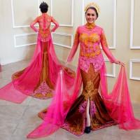 Gaun Kebaya Pengantin Wanita Model Duyung Mouslim Moden