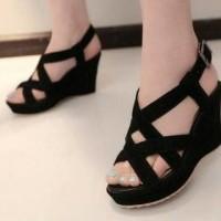 sandal wedges tali hitam WL