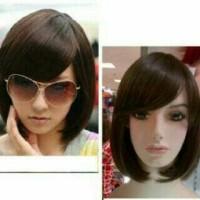 Rambut Palsu Pendek Lurus Bob Sebahu Hitam Coklat Wig hair Extension