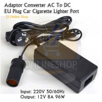 Adaptor Converter AC To DC EU Plug Car Lighter Port Inverter 8A 96W