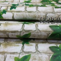 WPS023- WHITE BRICK N LEAVES wallpaper-dinding walpaper stiker dinding