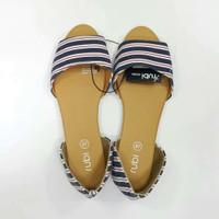 sepatu rubi flat shoes stripe blue size 35, 38, 40, 41
