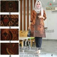 Baju Atasan Wanita Muslim Blouse Batik Rilita Sogan