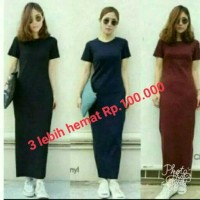 Jual LONG DREES maxi plain 3lebihhemat Murah